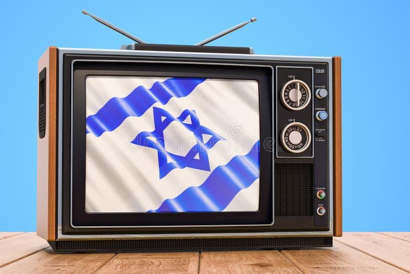 Concetto israeliano della televisione, 3D illustrazione di stock