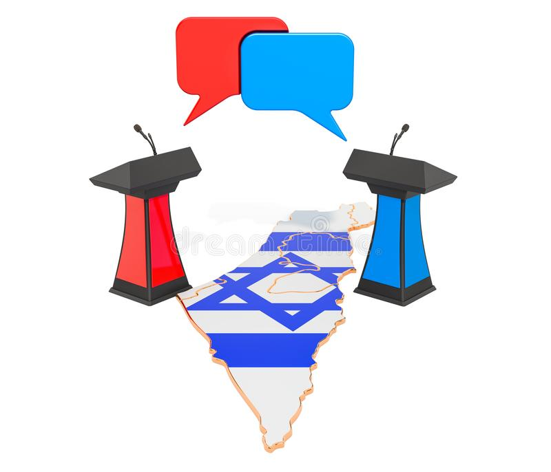 Concetto israeliano di dibattito, rappresentazione 3D royalty illustrazione gratis