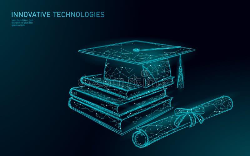 Concetto laureato distante di programma del certificato di e-learning Poli 3D basso rendere il cappuccio di graduazione, libri, d illustrazione di stock