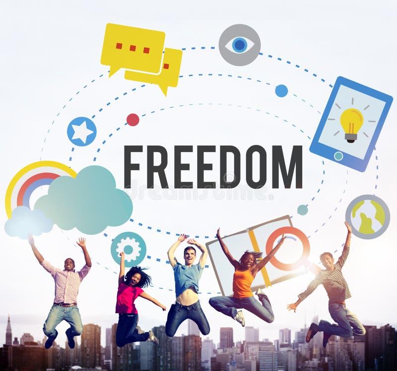 Concetto libero di indipendenza di emancipazione di ispirazione di libertà immagini stock libere da diritti