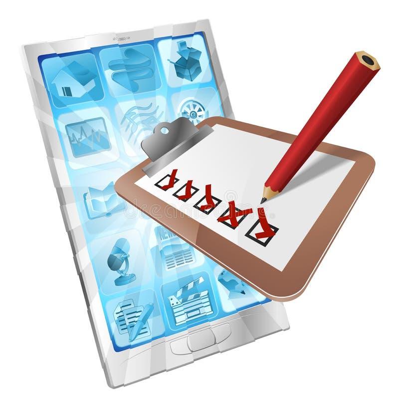 Concetto in linea dei appunti di app del telefono di indagine illustrazione di stock