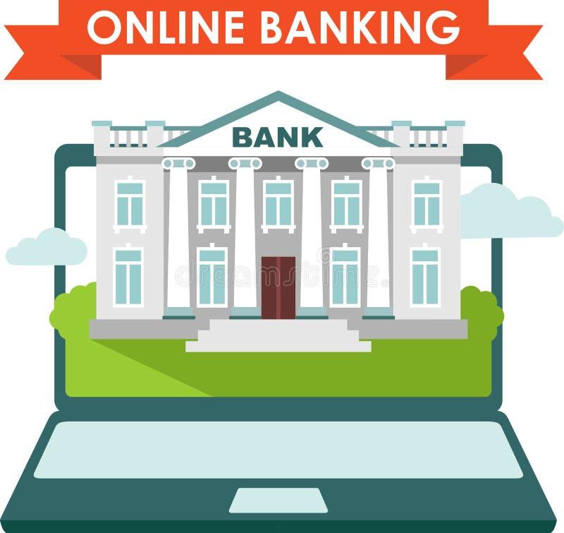 Concetto in linea di attività bancarie illustrazione di stock