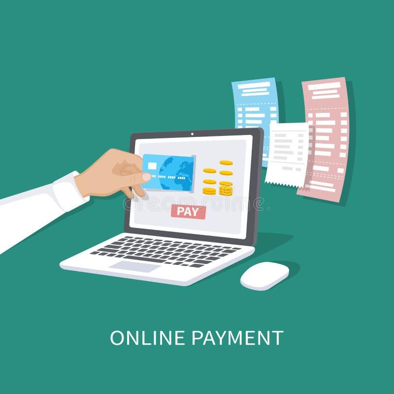 Concetto in linea di pagamento Pagamento delle fatture, controlli, acquisto online via il cellulare app Commercio elettronico, e- illustrazione vettoriale