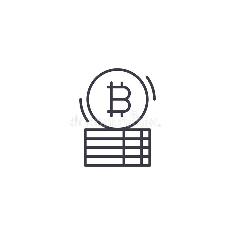 Concetto lineare capitale dell'icona di Bitcoin Linea capitale segno di vettore, simbolo, illustrazione di Bitcoin illustrazione vettoriale
