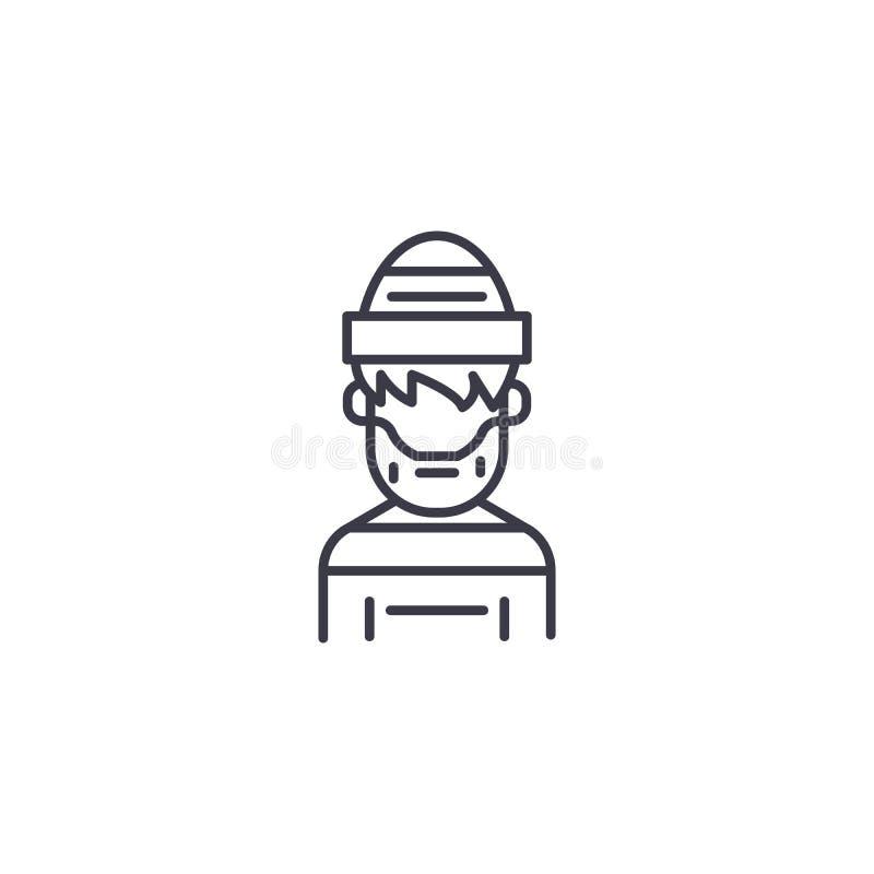 Concetto lineare criminale dell'icona Linea criminale segno di vettore, simbolo, illustrazione illustrazione vettoriale