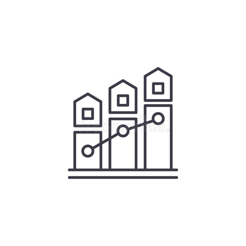 Concetto lineare dell'icona degli indicatori del mercato immobiliare Gli indicatori del mercato immobiliare allineano il segno di illustrazione vettoriale