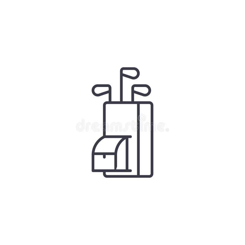 Concetto lineare dell'icona dei club di golf I club di golf allineano il segno di vettore, simbolo, illustrazione royalty illustrazione gratis