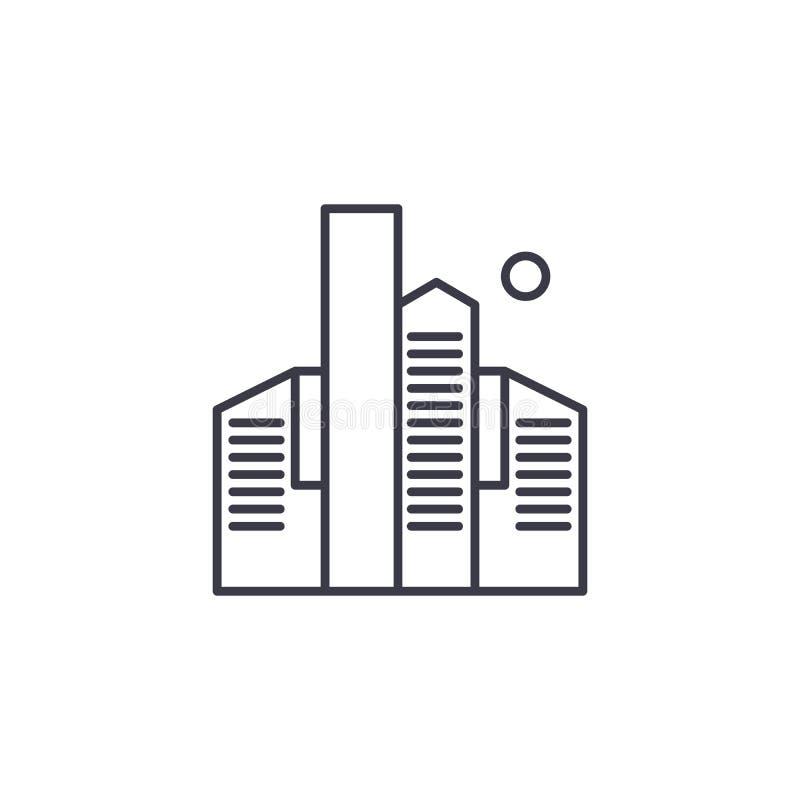 Concetto lineare dell'icona dei grattacieli I grattacieli allineano il segno di vettore, simbolo, illustrazione illustrazione vettoriale