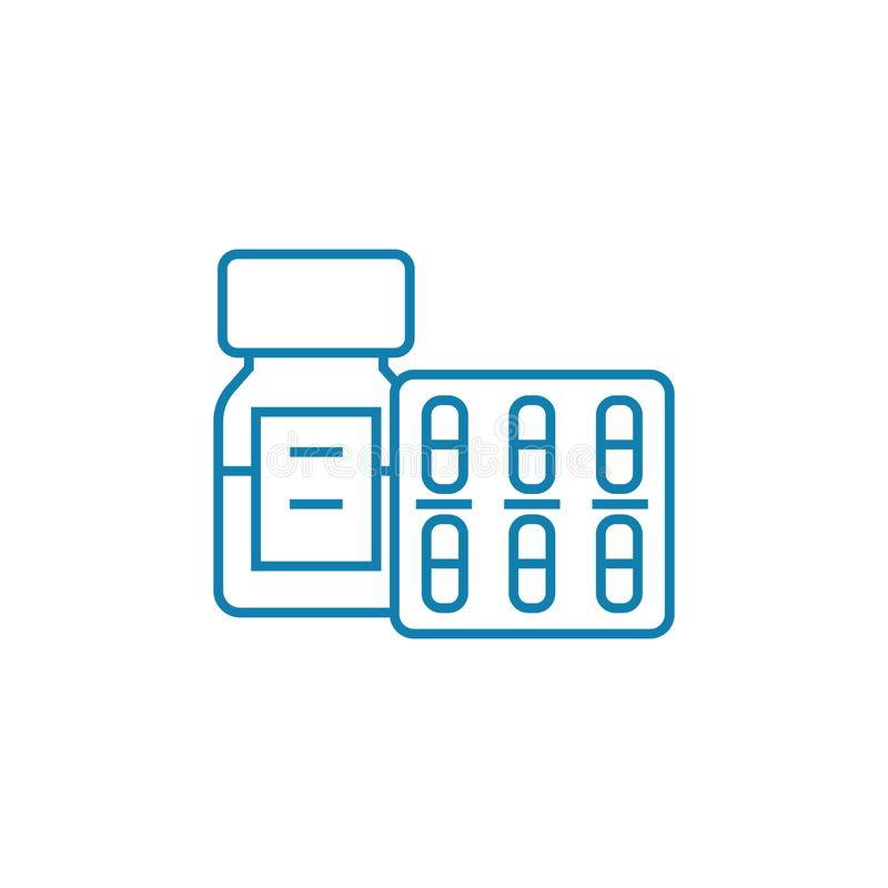 Concetto lineare dell'icona dei rifornimenti medici I rifornimenti medici allineano il segno di vettore, simbolo, illustrazione illustrazione di stock