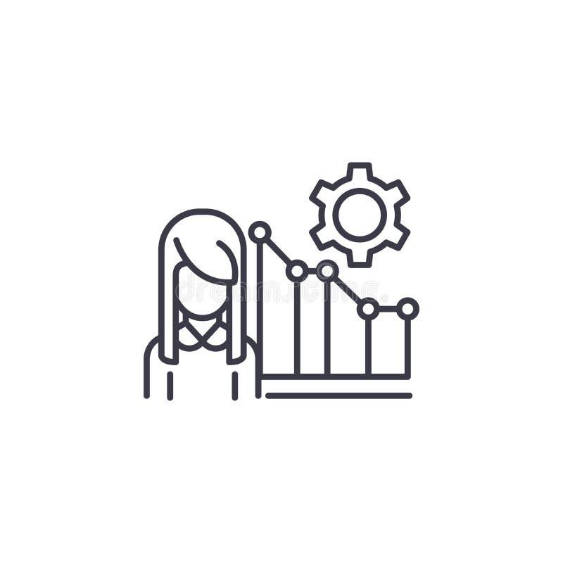 Concetto lineare dell'icona del direttore di marketing Linea segno di vettore, simbolo, illustrazione del direttore di marketing illustrazione di stock