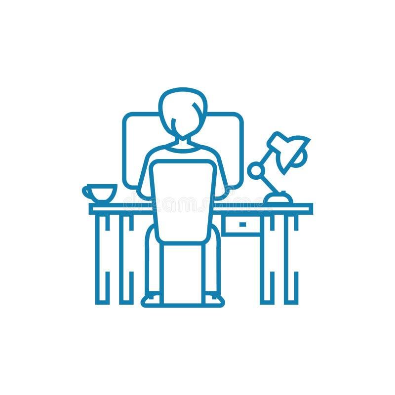 Concetto lineare dell'icona del duro lavoro Linea segno di vettore, simbolo, illustrazione del duro lavoro illustrazione di stock