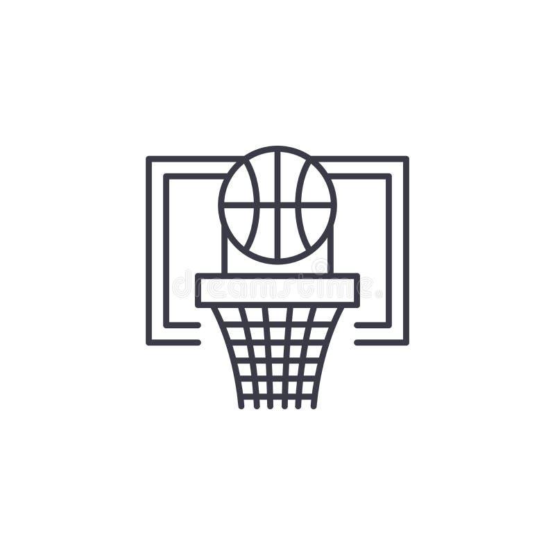 Concetto lineare dell'icona del gioco di pallacanestro Linea segno di vettore, simbolo, illustrazione del gioco di pallacanestro illustrazione vettoriale