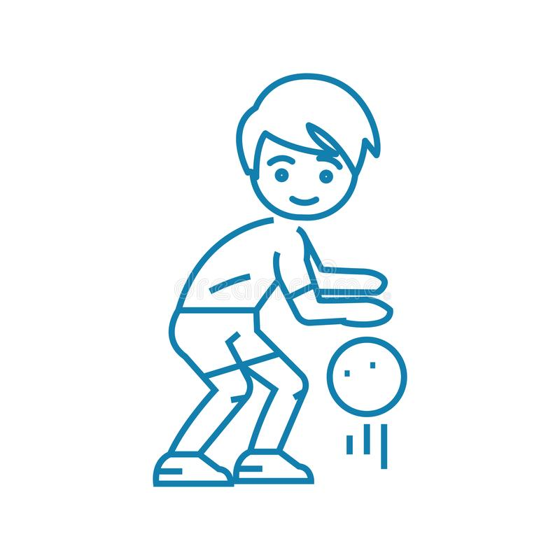 Concetto lineare dell'icona del gioco di pallacanestro Linea segno di vettore, simbolo, illustrazione del gioco di pallacanestro illustrazione di stock