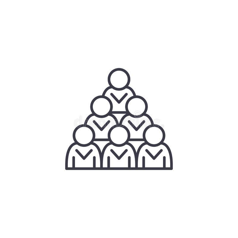Concetto lineare dell'icona del gruppo del gruppo Team la linea il segno di vettore, il simbolo, illustrazione del gruppo illustrazione di stock