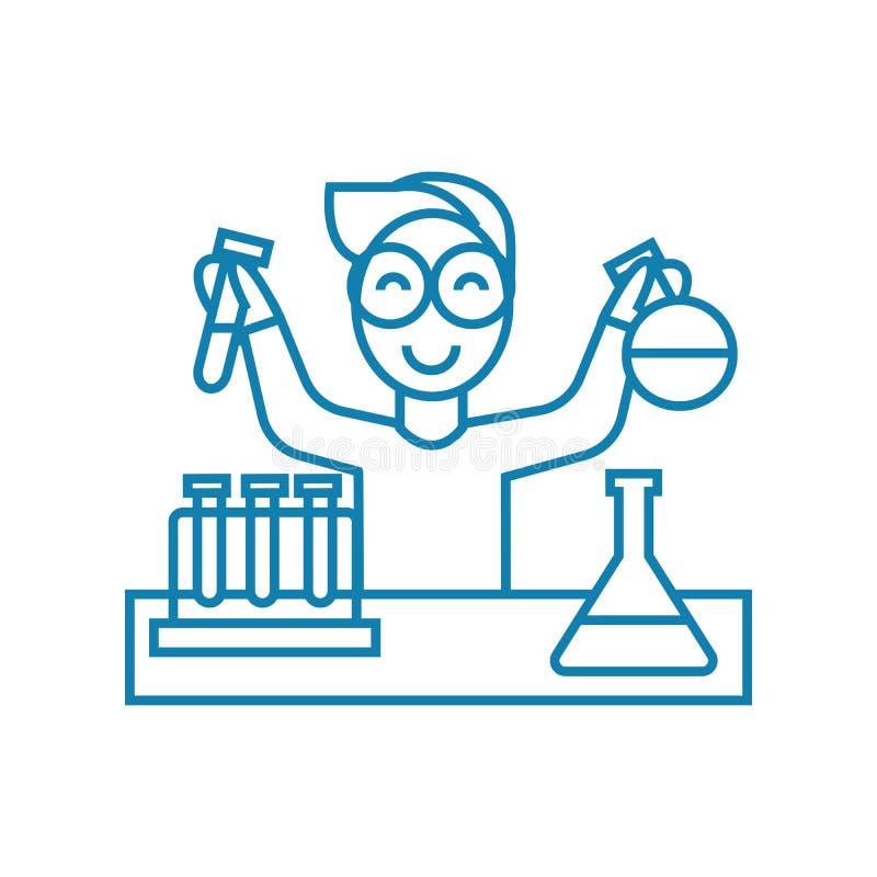 Concetto lineare dell'icona del laboratorio chimico Linea chimica segno di vettore, simbolo, illustrazione del laboratorio illustrazione di stock