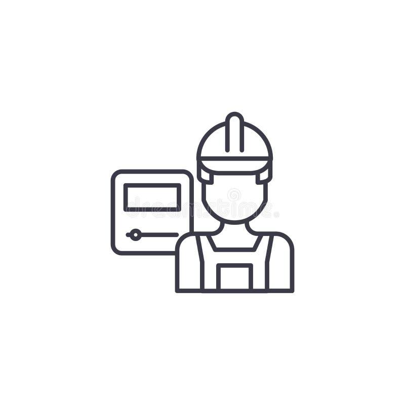 Concetto lineare dell'icona del lavoratore dell'industria Linea segno di vettore, simbolo, illustrazione del lavoratore dell'indu illustrazione di stock