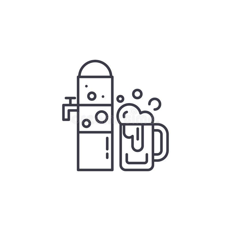 Concetto lineare dell'icona della birra alla spina Linea segno di vettore, simbolo, illustrazione della birra alla spina royalty illustrazione gratis