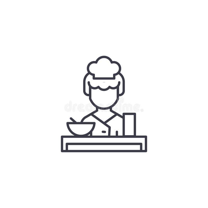 Concetto lineare dell'icona della cameriera di bar Linea segno di vettore, simbolo, illustrazione della cameriera di bar illustrazione vettoriale