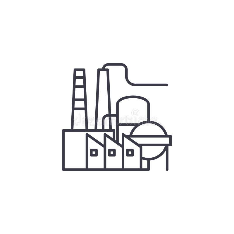 Concetto lineare dell'icona della raffineria di petrolio Linea segno di vettore, simbolo, illustrazione della raffineria di petro illustrazione di stock