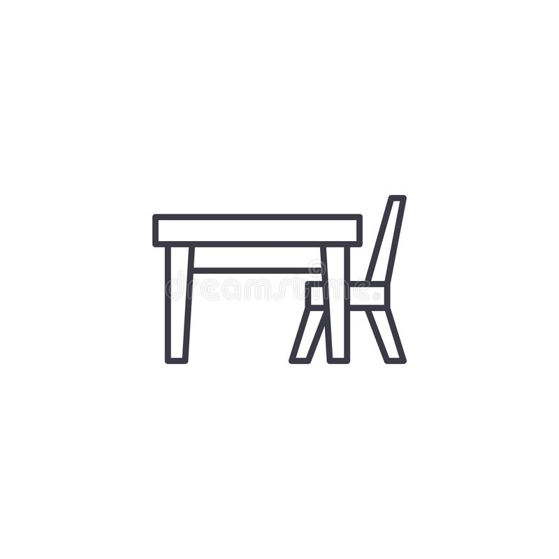 Concetto lineare dell'icona della sedia della Tabella Linea segno di vettore, simbolo, illustrazione della sedia della Tabella illustrazione vettoriale