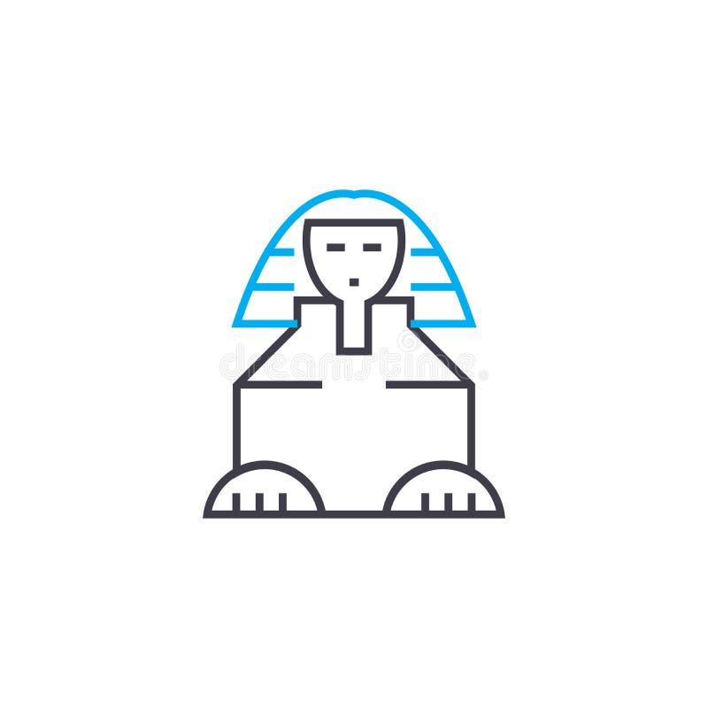 Concetto lineare dell'icona della Sfinge Linea segno di vettore, simbolo, illustrazione della Sfinge royalty illustrazione gratis