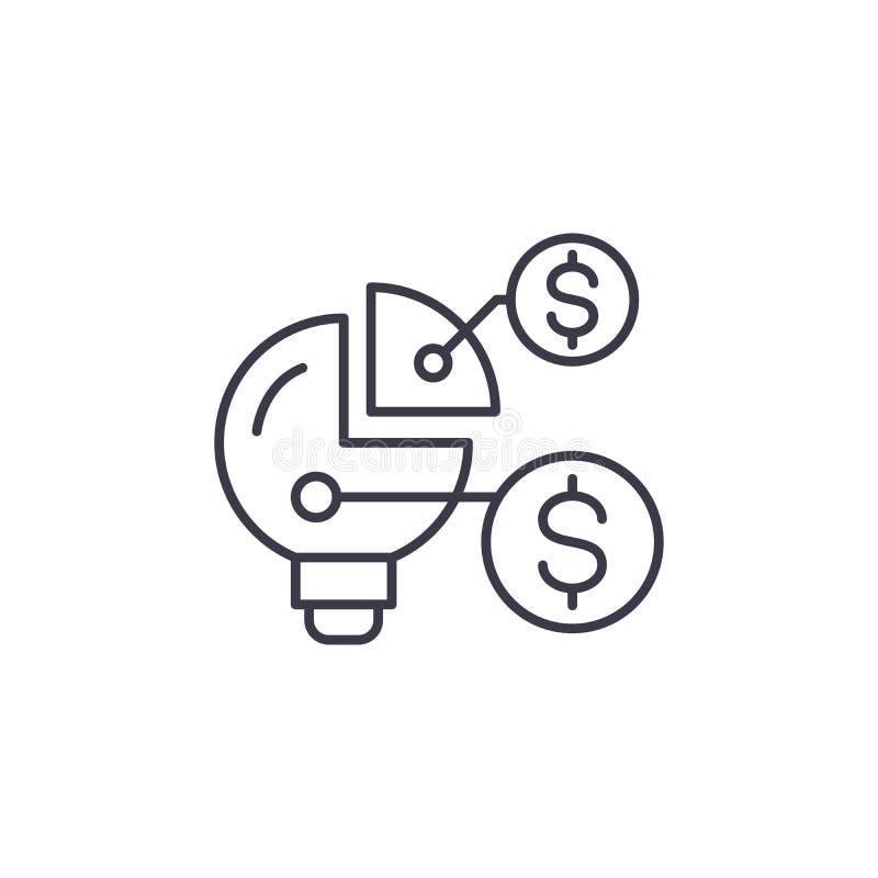 Concetto lineare dell'icona della struttura di organizzazione finanziaria Linea segno di vettore, simbolo della struttura di orga illustrazione vettoriale