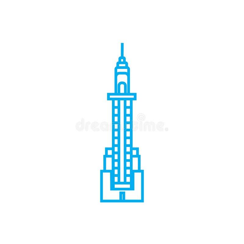 Concetto lineare dell'icona della torre del grattacielo Linea segno di vettore, simbolo, illustrazione della torre del grattaciel royalty illustrazione gratis