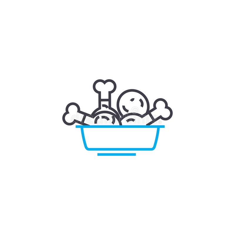Concetto lineare dell'icona delle bacchette di pollo Le bacchette di pollo allineano il segno di vettore, il simbolo, illustrazio royalty illustrazione gratis