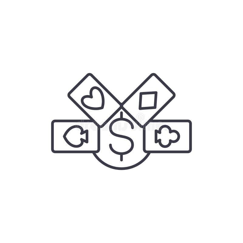 Concetto lineare dell'icona delle carte da gioco Le carte da gioco allineano il segno di vettore, simbolo, illustrazione royalty illustrazione gratis
