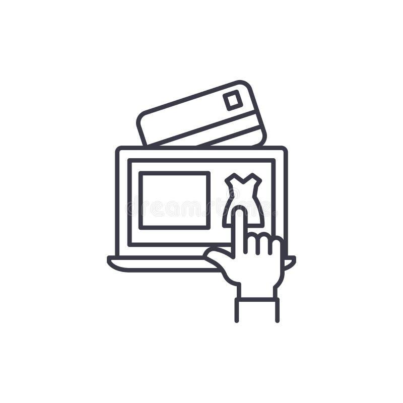 Concetto lineare dell'icona di commercio elettronico Linea segno di vettore, simbolo, illustrazione di commercio elettronico illustrazione vettoriale
