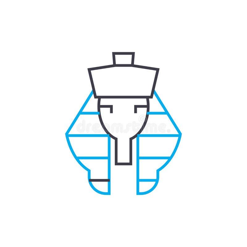 Concetto lineare dell'icona di faraone Linea segno di vettore, simbolo, illustrazione di faraone illustrazione di stock