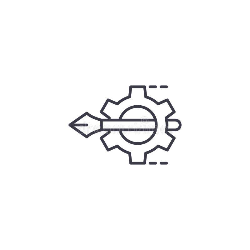 Concetto lineare dell'icona di progetto di progettazione Linea segno di vettore, simbolo, illustrazione di progetto di progettazi illustrazione vettoriale
