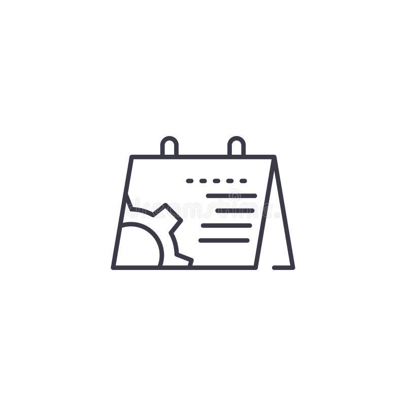 Concetto lineare dell'icona di programma di progetto Linea segno di vettore, simbolo, illustrazione di programma di progetto illustrazione di stock