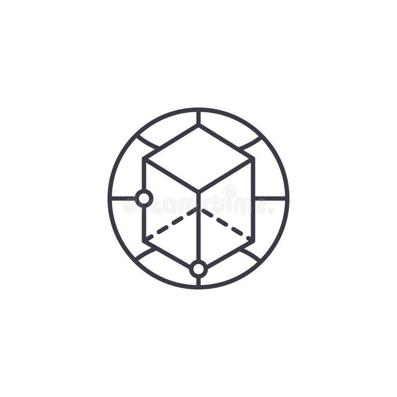 Concetto lineare dell'icona di prospettive globali Le prospettive globali allineano il segno di vettore, il simbolo, illustrazion royalty illustrazione gratis