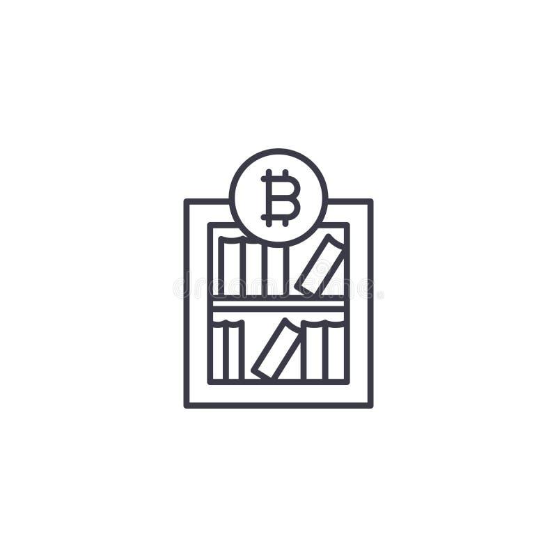 Concetto lineare dell'icona di ricerca di mercato di Bitcoin Linea segno di vettore, simbolo, illustrazione di ricerca di mercato illustrazione di stock