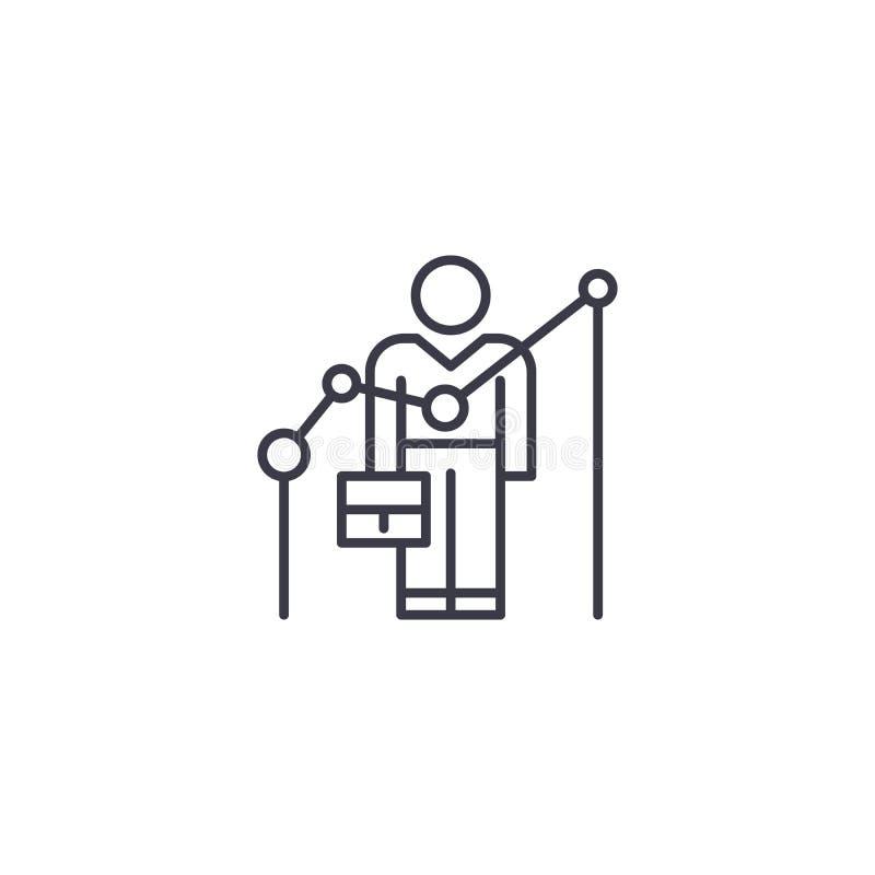 Concetto lineare dell'icona di risultati del ` s degli impiegati I risultati del ` s degli impiegati allineano il segno di vettor royalty illustrazione gratis