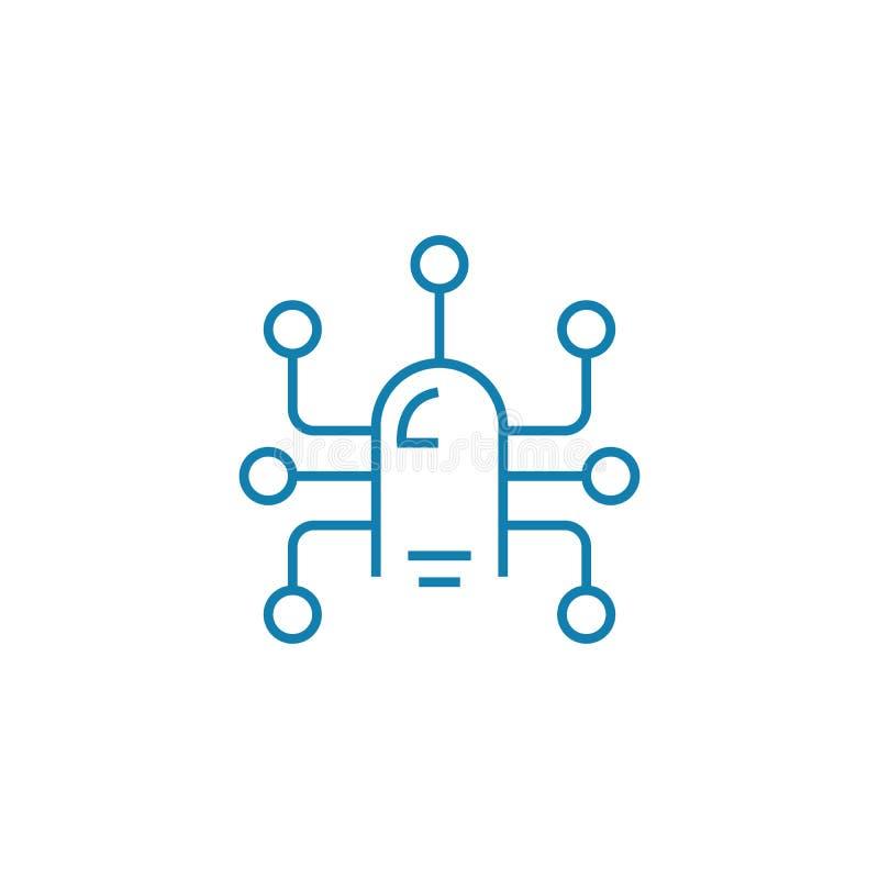 Concetto lineare dell'icona di tecnologia dei sensori Linea segno di vettore, simbolo, illustrazione di tecnologia dei sensori illustrazione vettoriale