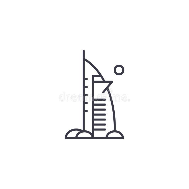 Concetto lineare dell'icona dell'hotel di Burj Al Arab Linea segno di vettore, simbolo, illustrazione dell'hotel di Burj Al Arab illustrazione di stock
