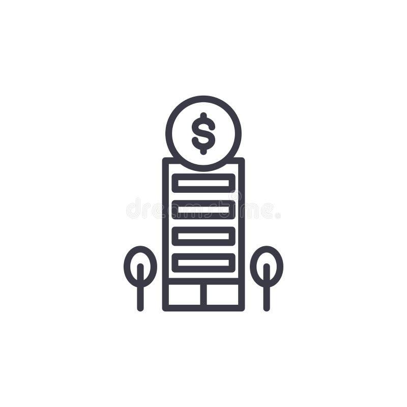 Concetto lineare dell'icona dell'istituzione finanziaria Linea segno di vettore, simbolo, illustrazione dell'istituzione finanzia illustrazione vettoriale