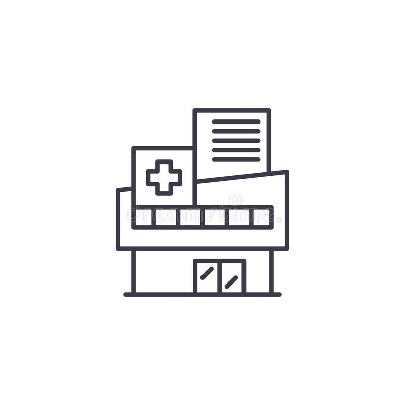 Concetto lineare dell'icona dell'ospedale Linea segno di vettore, simbolo, illustrazione dell'ospedale illustrazione vettoriale
