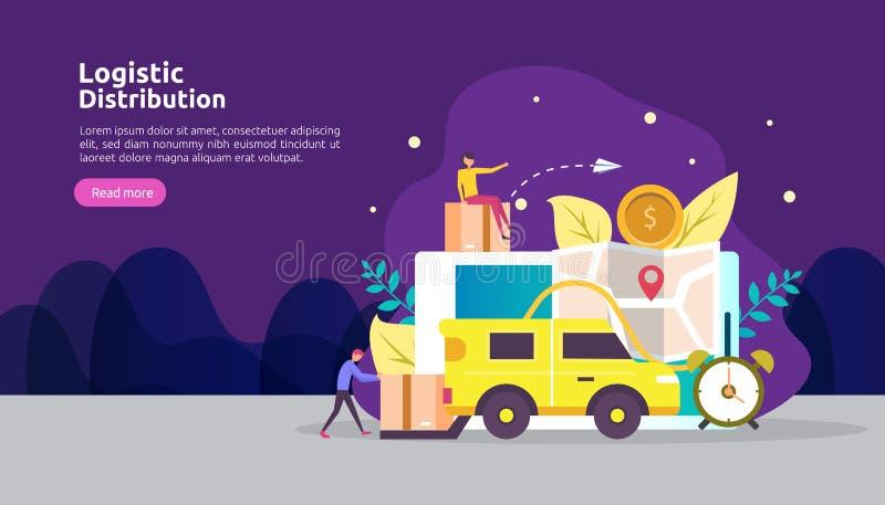 concetto logistico globale dell'illustrazione di servizio di distribuzione insegna mondiale di trasporto di importazioni-esportaz illustrazione di stock