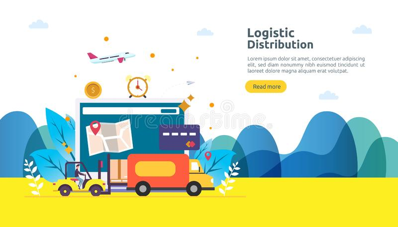 concetto logistico globale dell'illustrazione di servizio di distribuzione insegna mondiale di trasporto di importazioni-esportaz illustrazione vettoriale