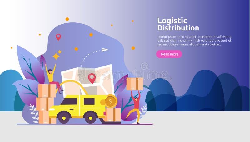 concetto logistico globale dell'illustrazione di servizio di distribuzione insegna mondiale di trasporto di importazioni-esportaz royalty illustrazione gratis