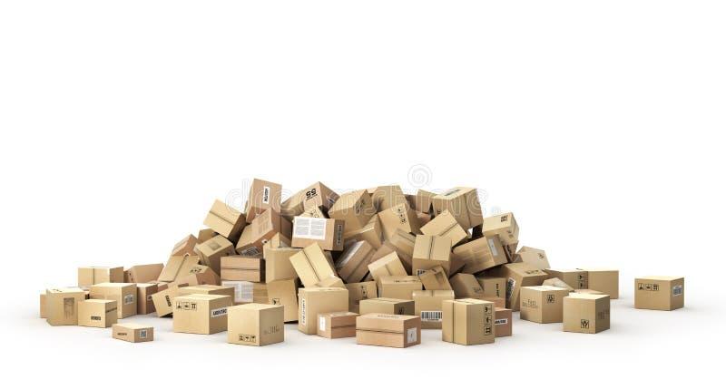 Concetto logistico Grande mucchio delle scatole di cartone royalty illustrazione gratis