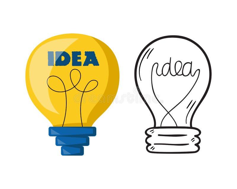 Concetto luminoso della soluzione grafica di vettore di progettazione della lampadina della lampada del fumetto di idea elettrica illustrazione vettoriale