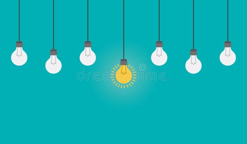 Concetto luminoso di comprensione e di idea con la lampadina Illustrazione piana di stile illustrazione di stock