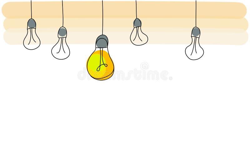 Concetto luminoso di idea con la lampadina Illustrazione piana di vettore di stile illustrazione vettoriale