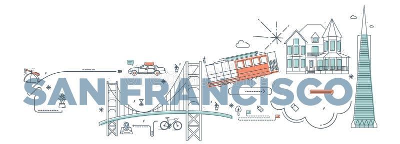 Concetto marcante a caldo di tecnologia del ` di San Francisco del ` di parola di tipografia illustrazione vettoriale