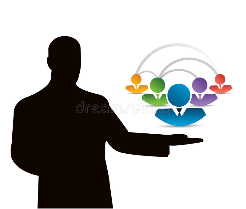 concetto maschio di presentazione della comunità illustrazione vettoriale