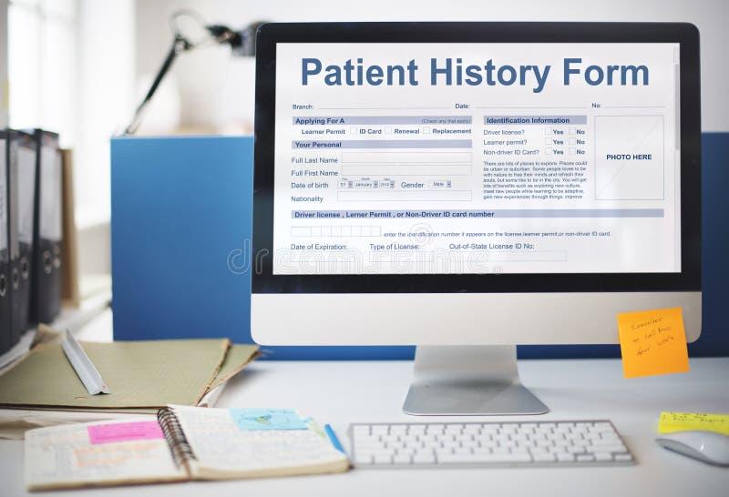 Concetto medico del formulario informativo dell'annotazione paziente di analisi fotografia stock
